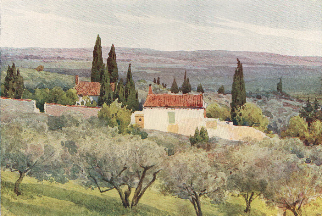 Nimes, view of the country south by Alexander Murray. Gard 1904 old print