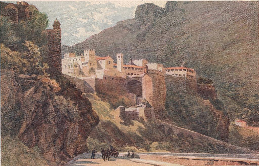 The rock-built town of Monaco by Alexander Murray. Monaco 1904 old print