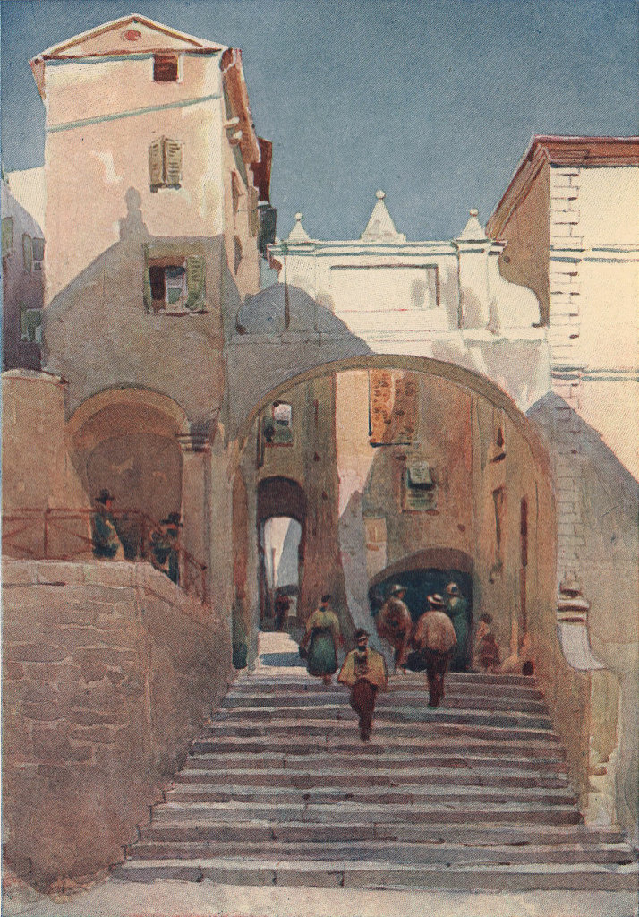 Mentone, old houses by Alexander Murray. Alpes-Maritimes 1904 print