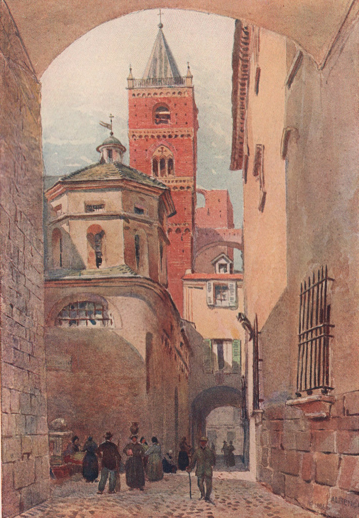 Albenga, Cathedral tower and baptistry by Montgomery Carmichael. Italy 1904