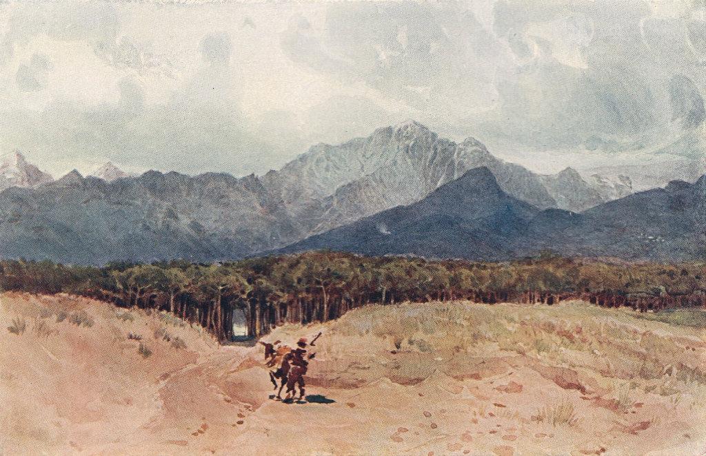 The Carrara mountains from the sea coast by Alexander Murray. Italy 1904 print