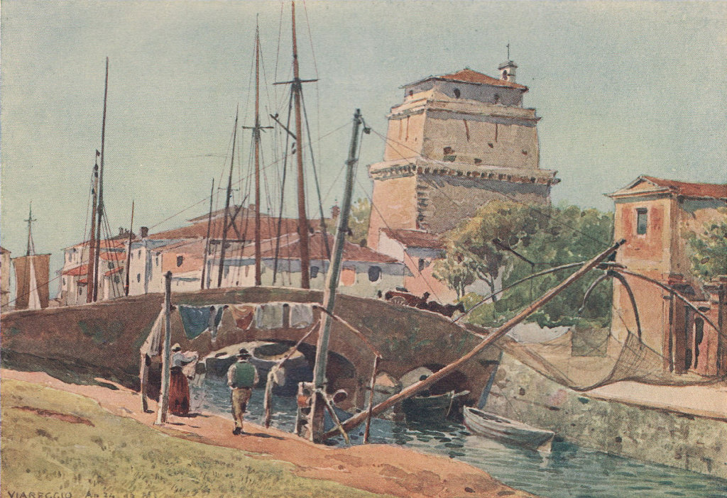 Viareggio, the port by Alexander Murray. Italy 1904 old antique print picture