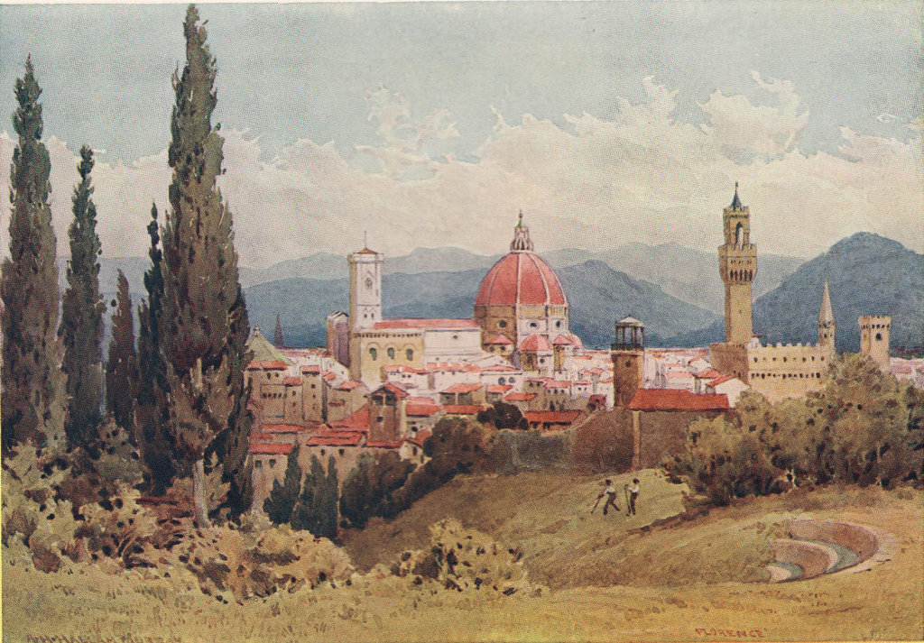 Florence from the Boboli Gardens, towards Fiesole by Alexander Murray 1904