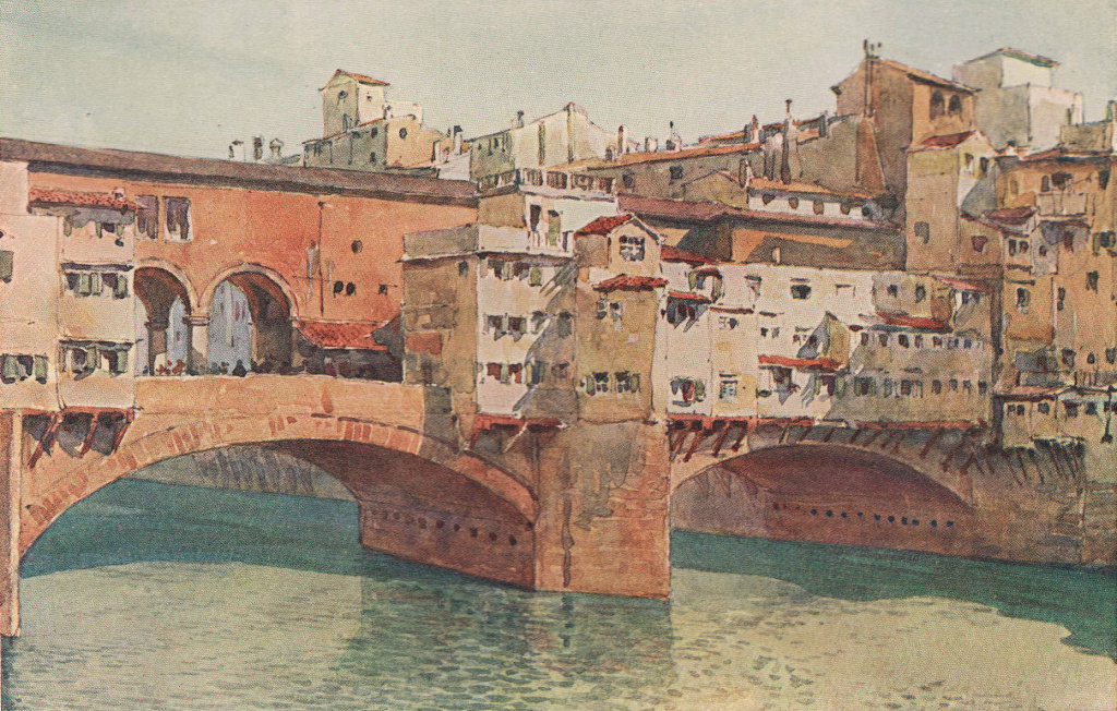 Florence, Ponte Vecchio by Alexander Murray. Italy 1904 old antique print