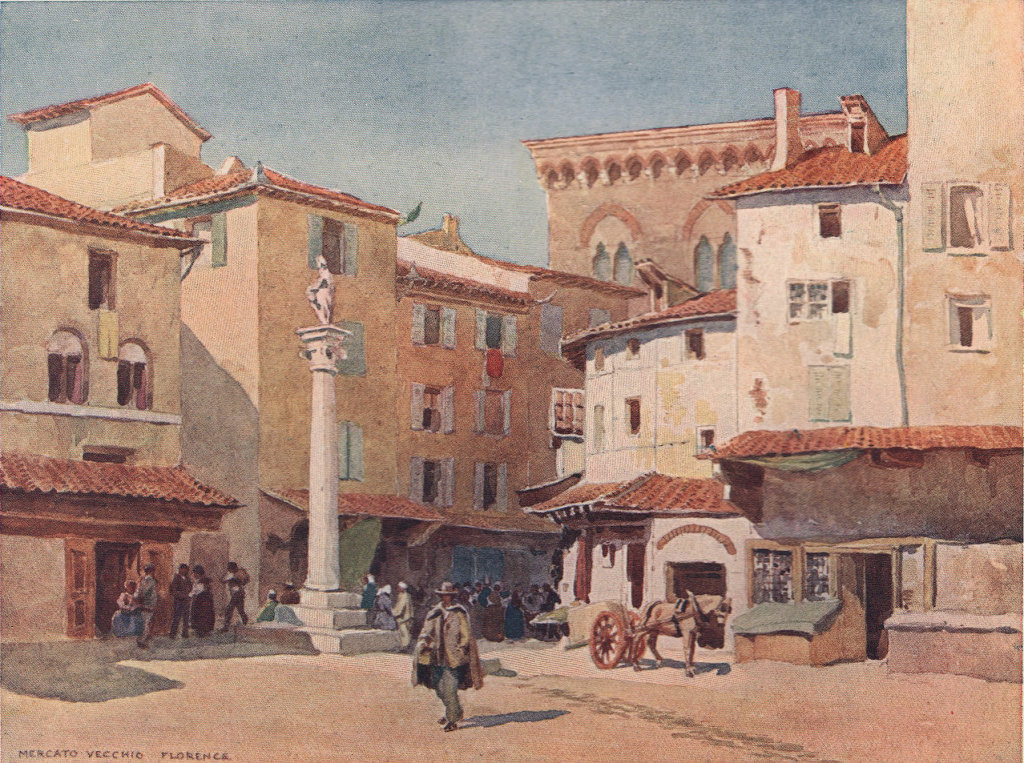 Florence, the Mercato Vecchio (since destroyed) by Alexander Murray. Italy 1904