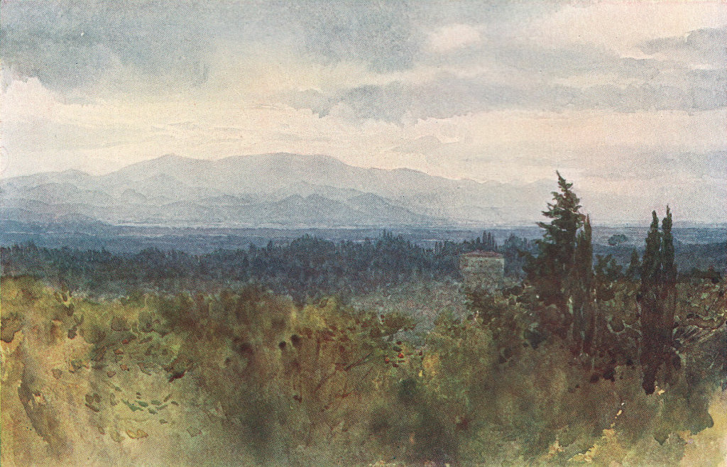 Florence, view across the plain to the hills by Alexander Murray. Italy 1904