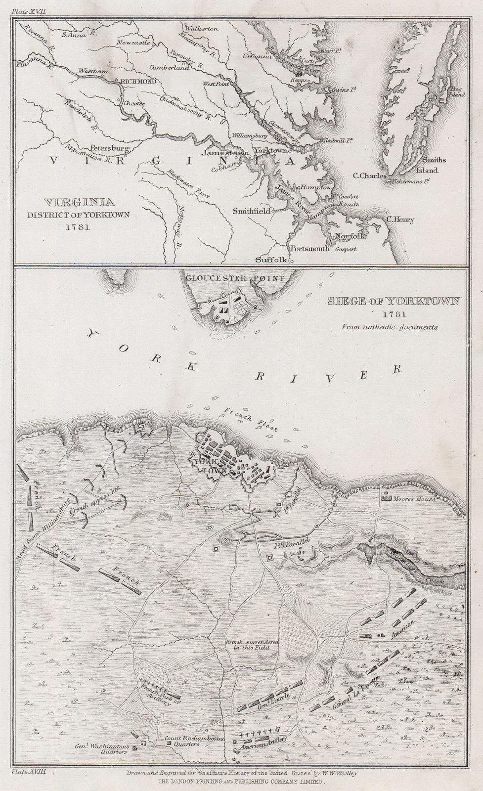 Siege of Yorktown 1781. Virginia environs of Yorktown. WOOLLEY 1863 old map