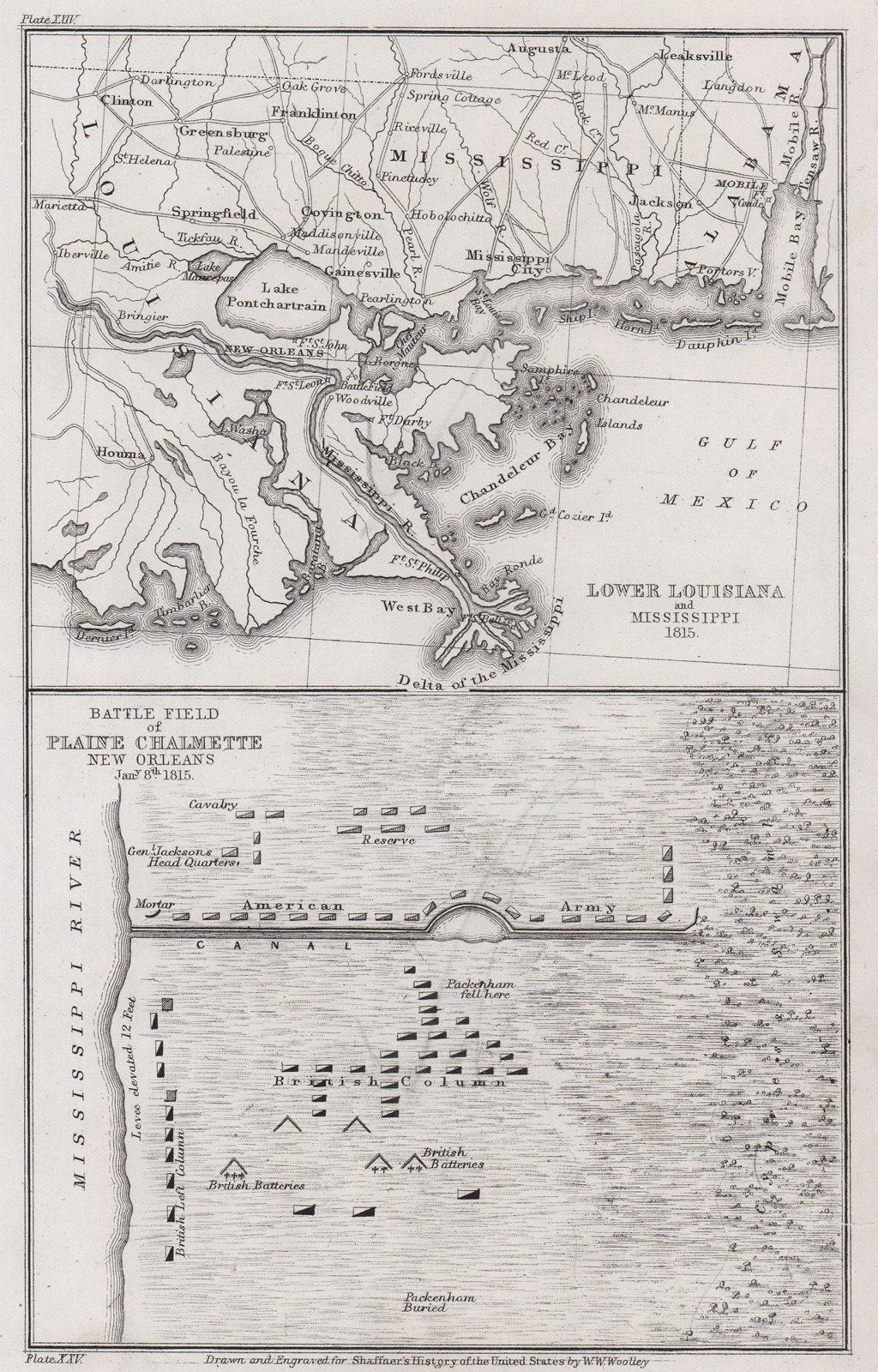 War of 1812. Battle of New Orleans 1815. Louisiana Chalmette 1863 old map