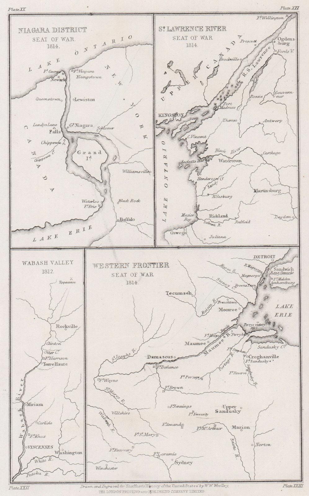 War of 1812. Niagara, Lake Erie, St. Lawrence 1814. Wabash Valley 1812 1863 map