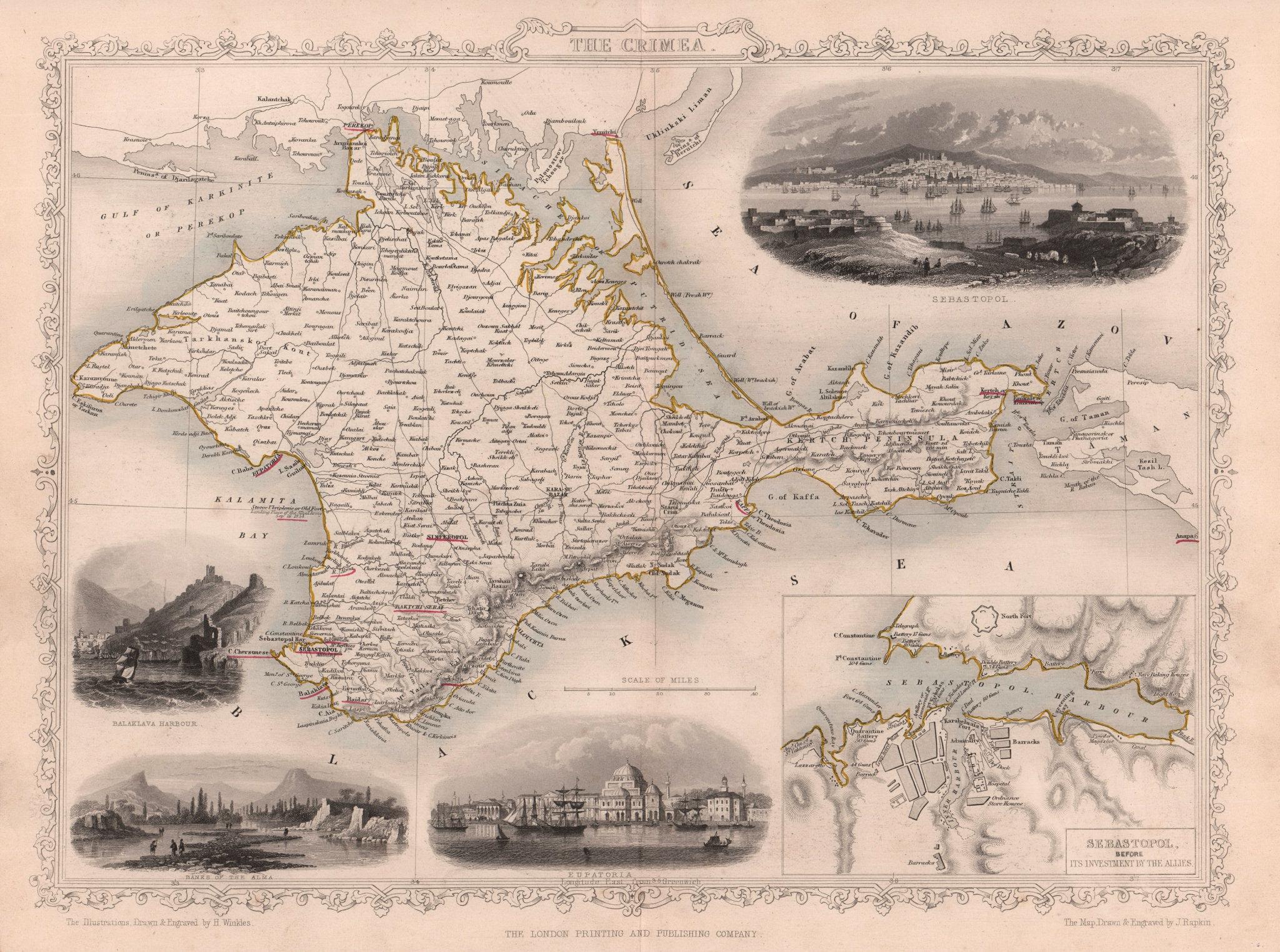 CRIMEA. Balaklava Yevpatoria vignettes. Sevastopol plan. TALLIS/RAPKIN c1855 map