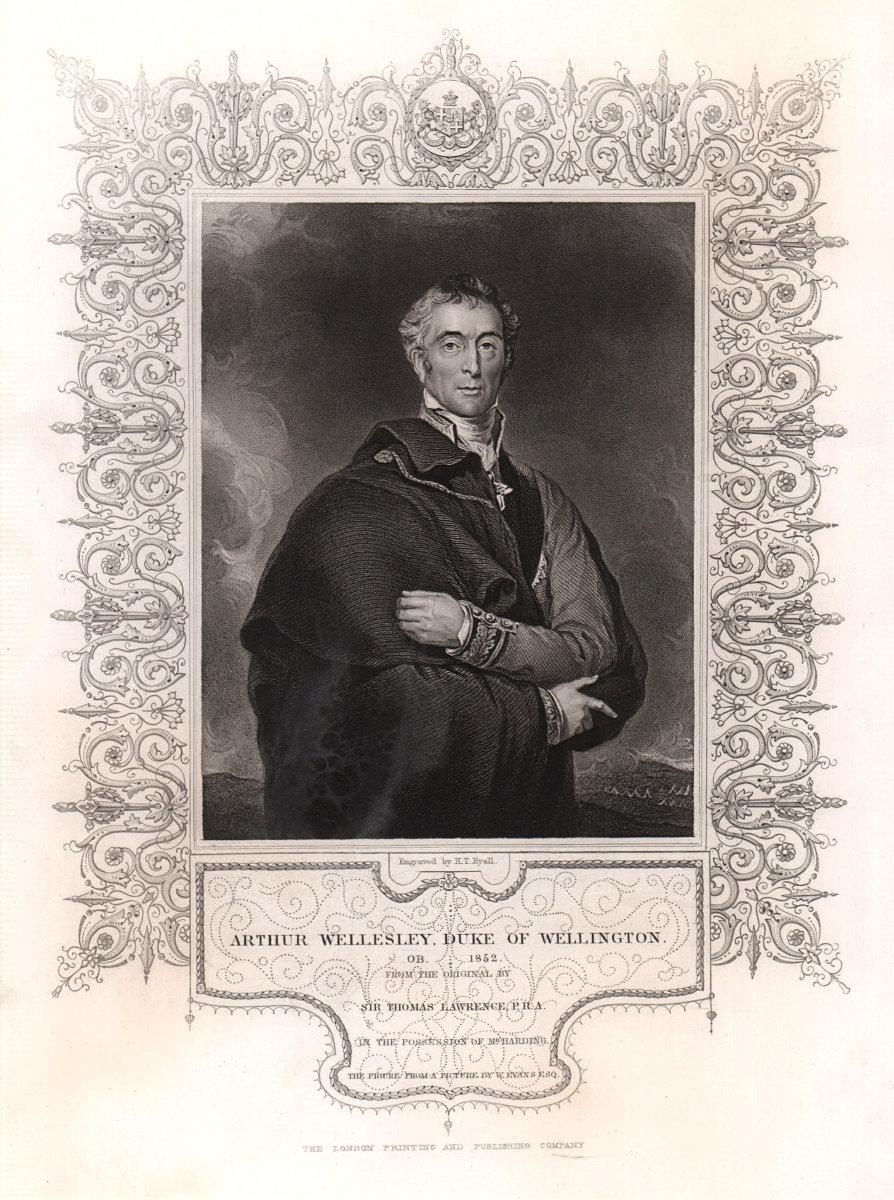 Arthur Wellesley, Duke of Wellington. TALLIS c1855 old antique print picture