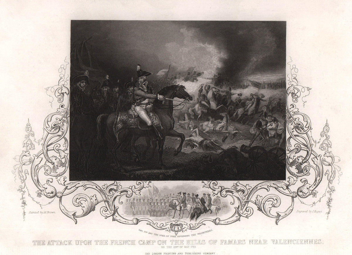 Siege of Valenciennes. Attack on the French camp at Famars. 1793. TALLIS c1855