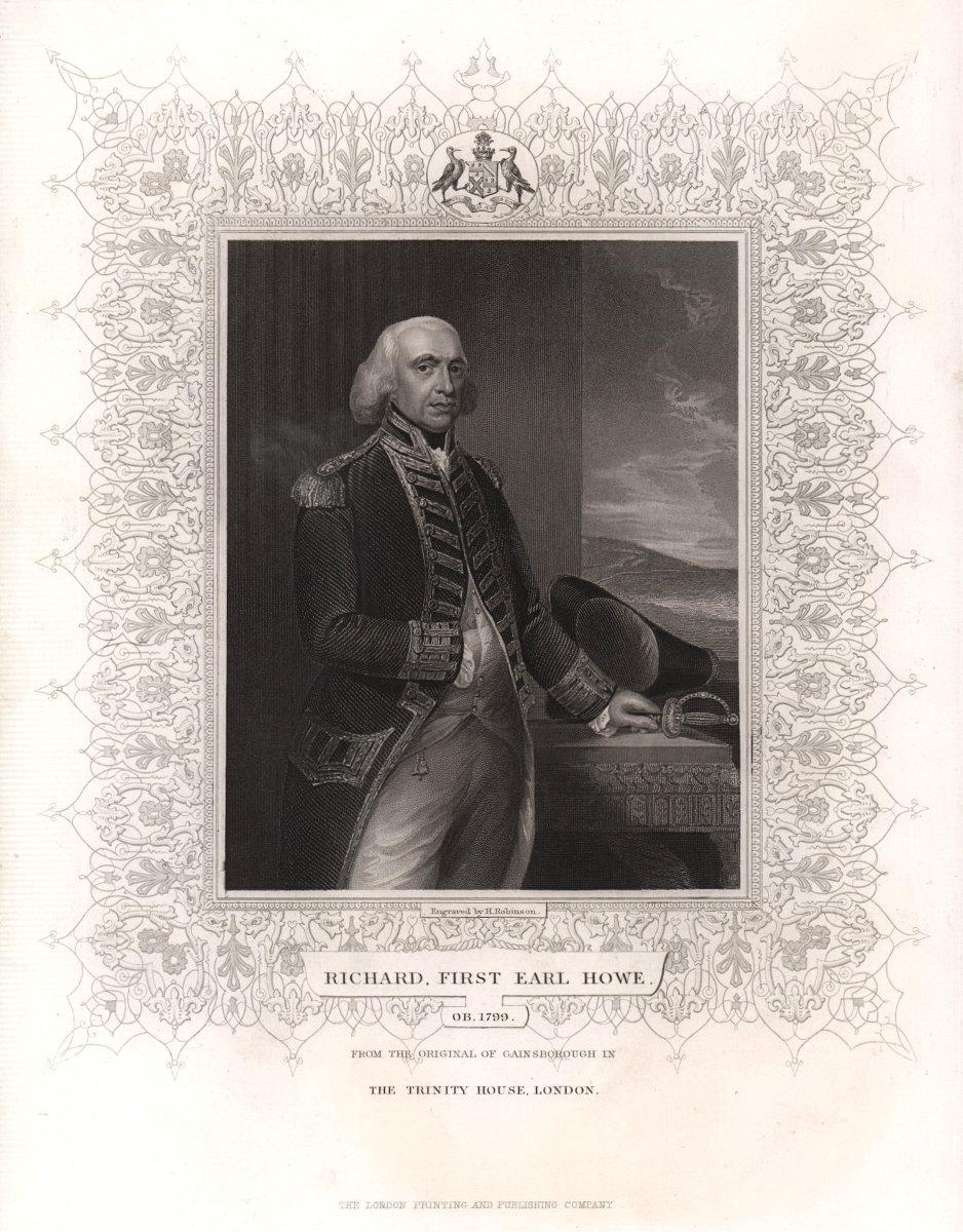 Richard, First Earl Howe (1726-1799), after Gainsborough. TALLIS c1855 print