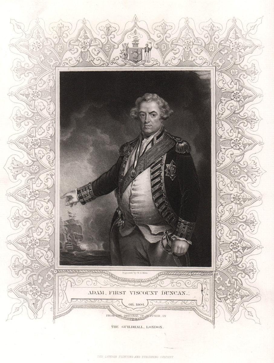 Adam, 1st Viscount Duncan (1731-1804). After Hoppner. TALLIS c1855 old print