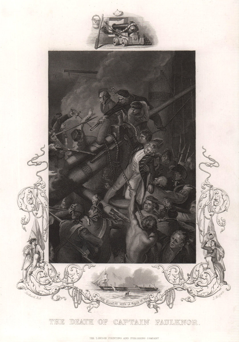 Death of Captain Robert Faulknor. West Indies. Guadeloupe, 1795. TALLIS c1855