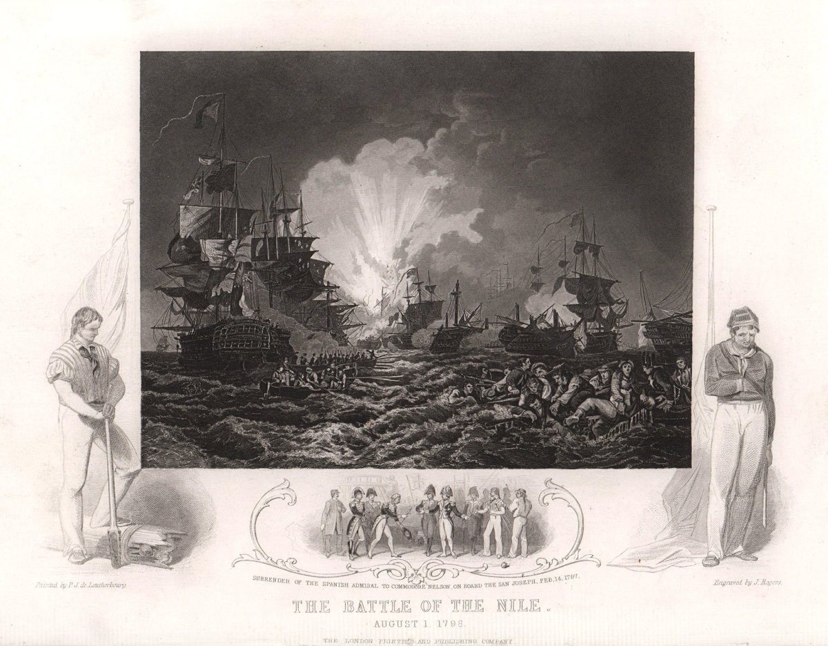 The Battle of the Nile August 1. 1798. Egypt. TALLIS c1855 old antique print