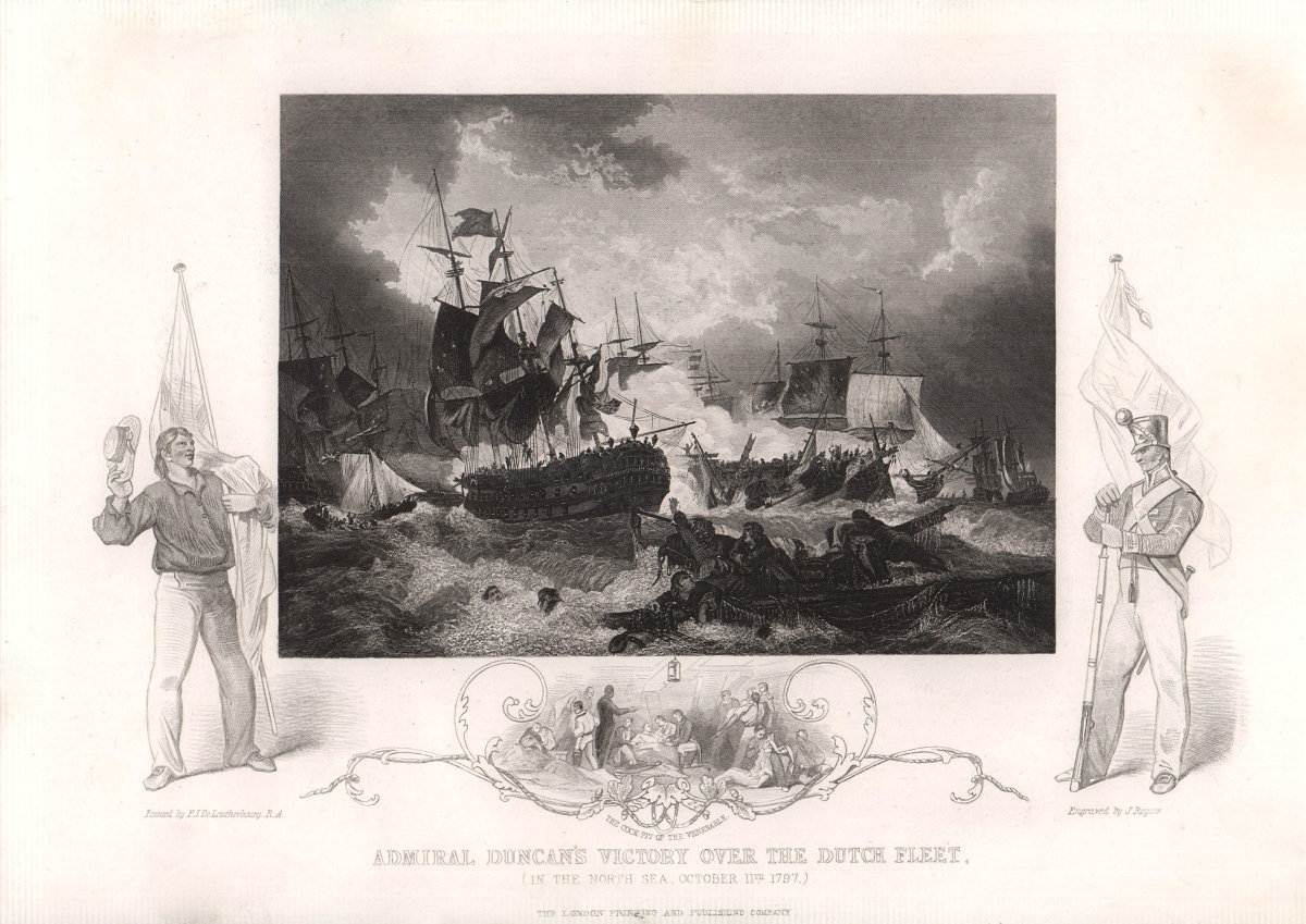 Battle of Camperdown 1797. Admiral Duncan's victory over the Dutch. TALLIS c1855