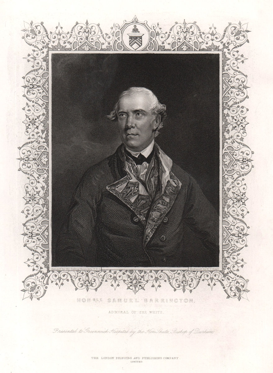 Admiral Samuel Barrington. TALLIS c1855 old antique vintage print picture