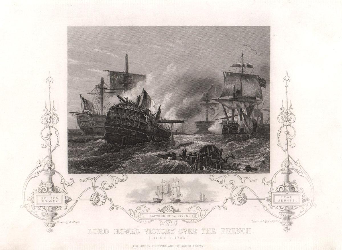 Glorious First of June 1794. Combat de Prairial. Lord Howe victory. TALLIS c1855