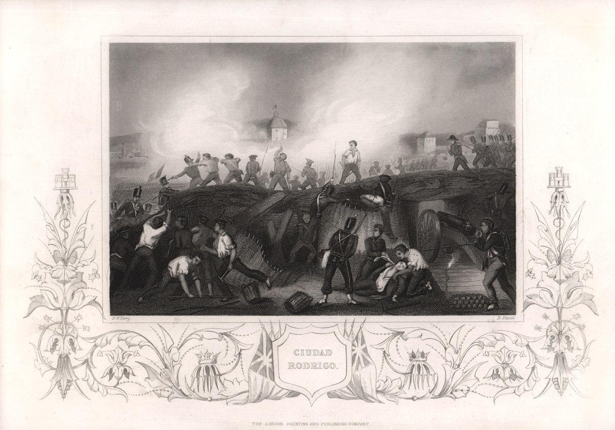 Seige of Ciudad Rodrigo, Spain. Peninsular War 1812. TALLIS c1855 old print