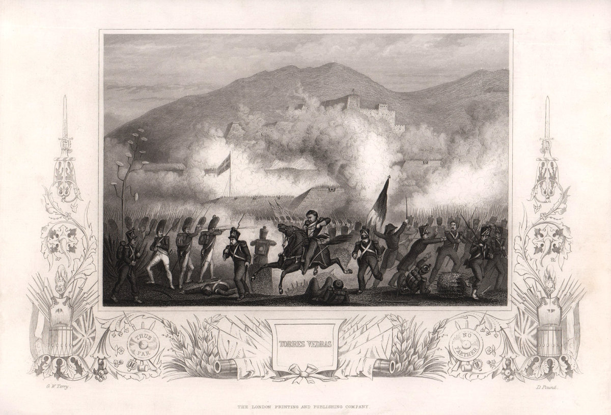 Battle of Torres Vedras, Portugal 1846. Built for Peninsula War. TALLIS c1855