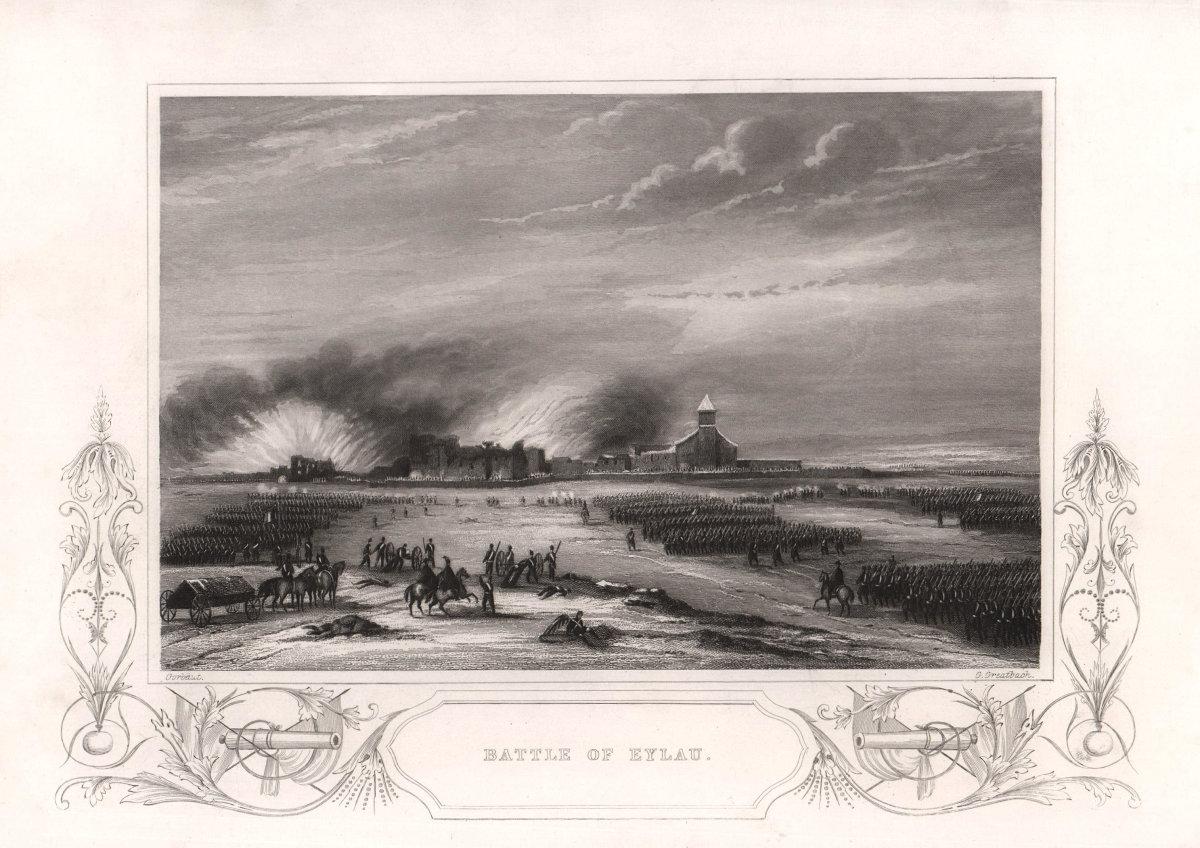 Battle of Eylau 1807. Russia. TALLIS c1855 old antique vintage print picture