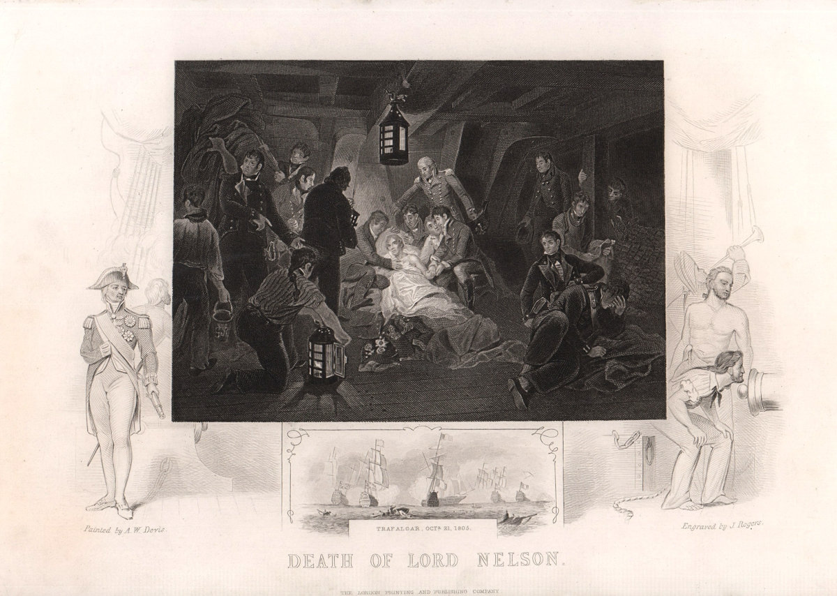 The death of Lord Nelson, Battle of Trafalgar, 1805. TALLIS c1855 old print