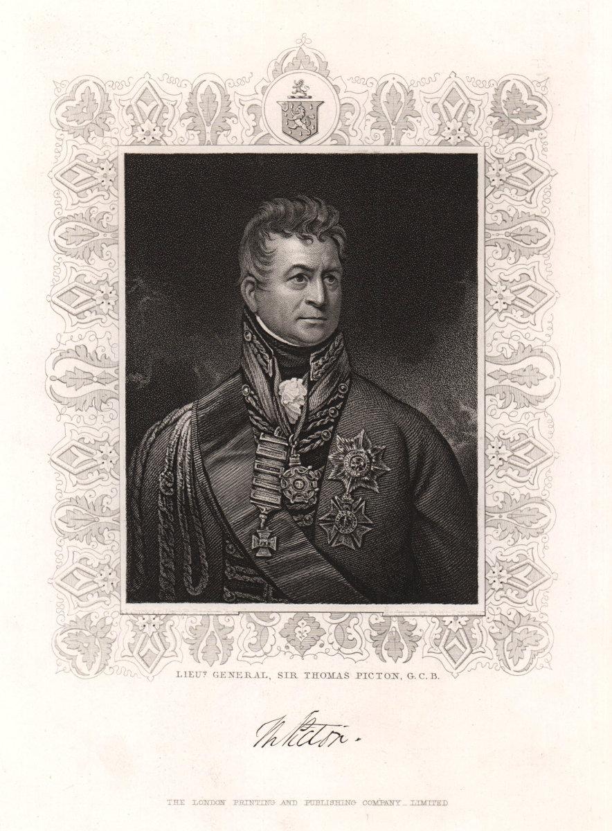 Lieut. General Sir Thomas Picton, G.C.B. Napoleonic Wars. TALLIS c1855 print