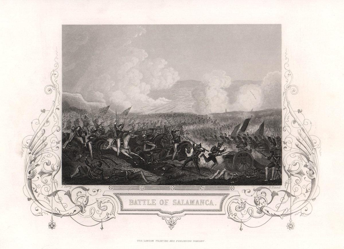 The Battle of Salamanca (Arapiles), 1812. Spain. Peninsular War. TALLIS c1855