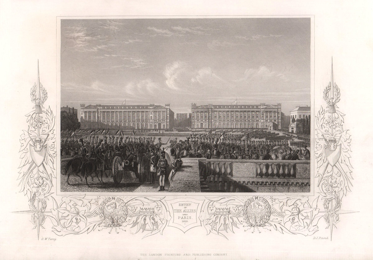 Entry of the Allies into Paris 1815. Napoleonic Wars. TALLIS c1855 old print