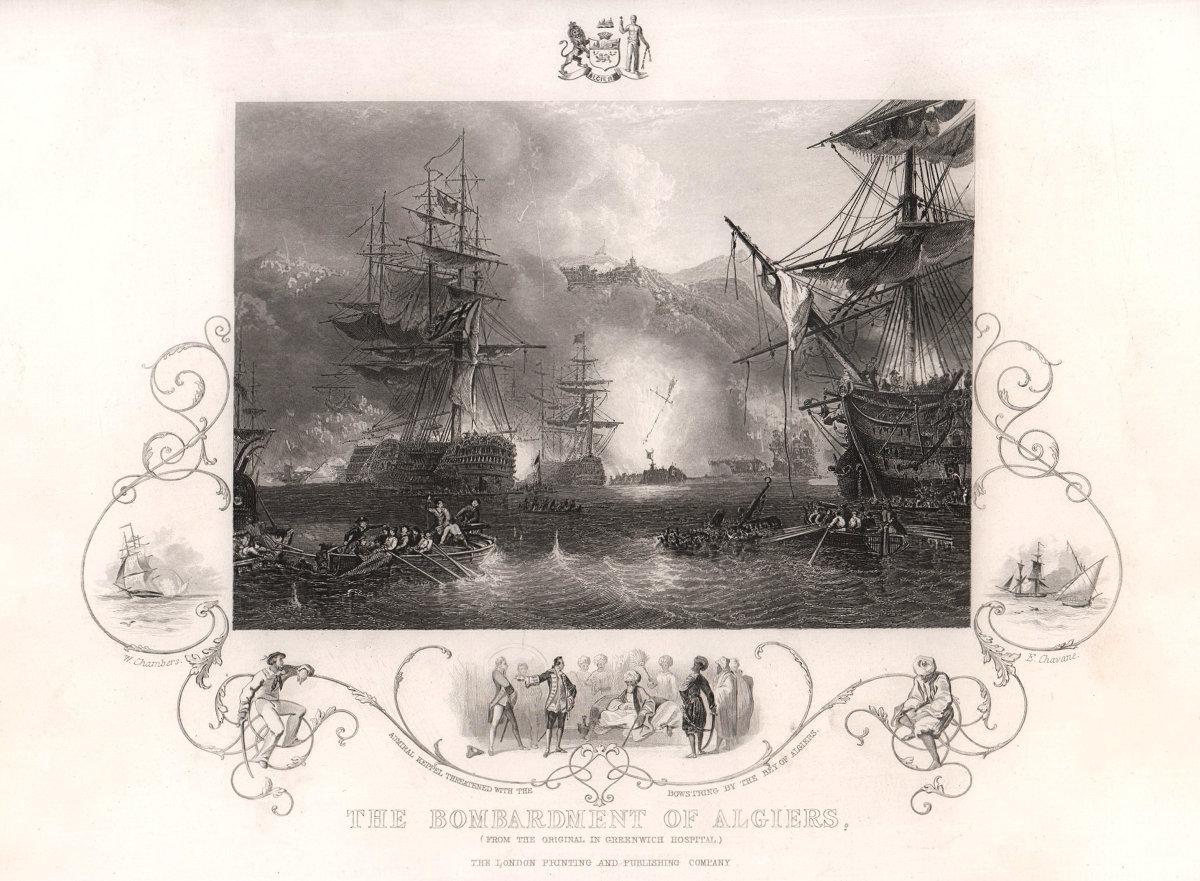 The bombardment of Algiers 1816. Algeria. TALLIS c1855 old antique print