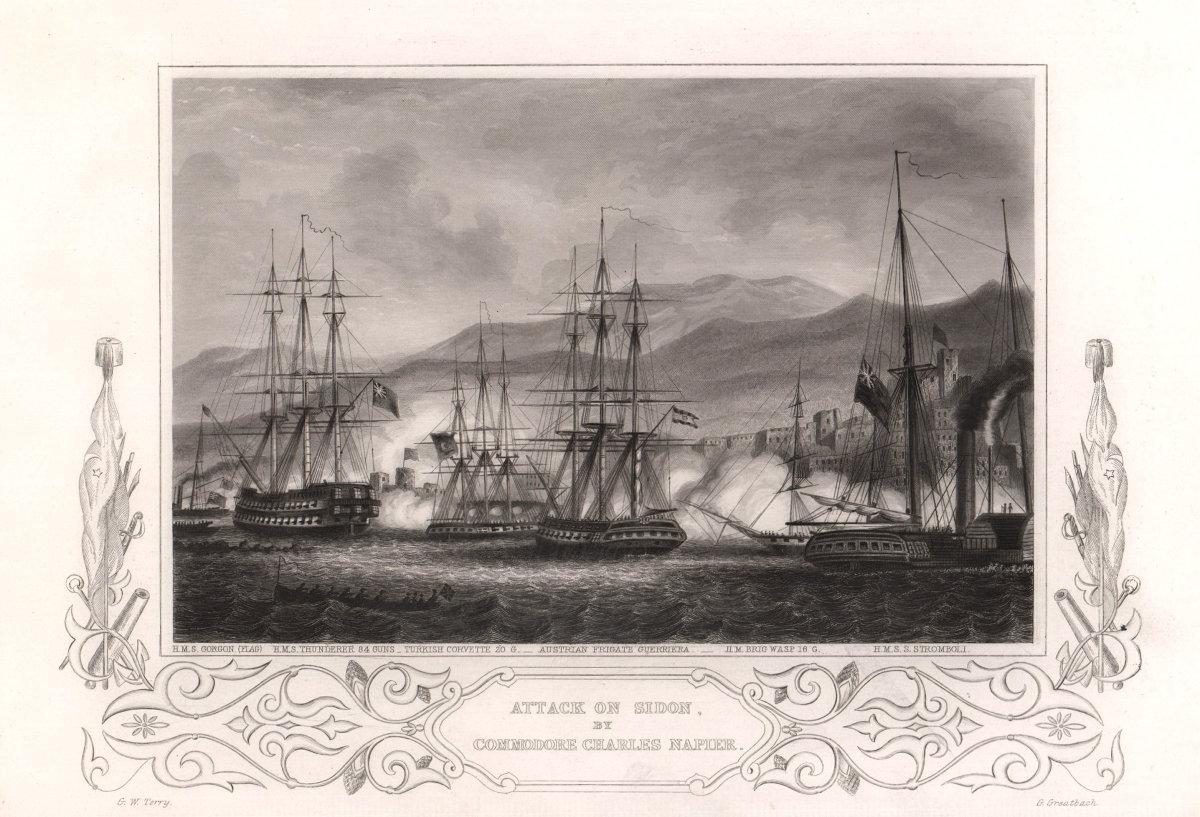 Attack on Sidon by Commodore Charles Napier 1840. Lebanon. TALLIS c1855 print