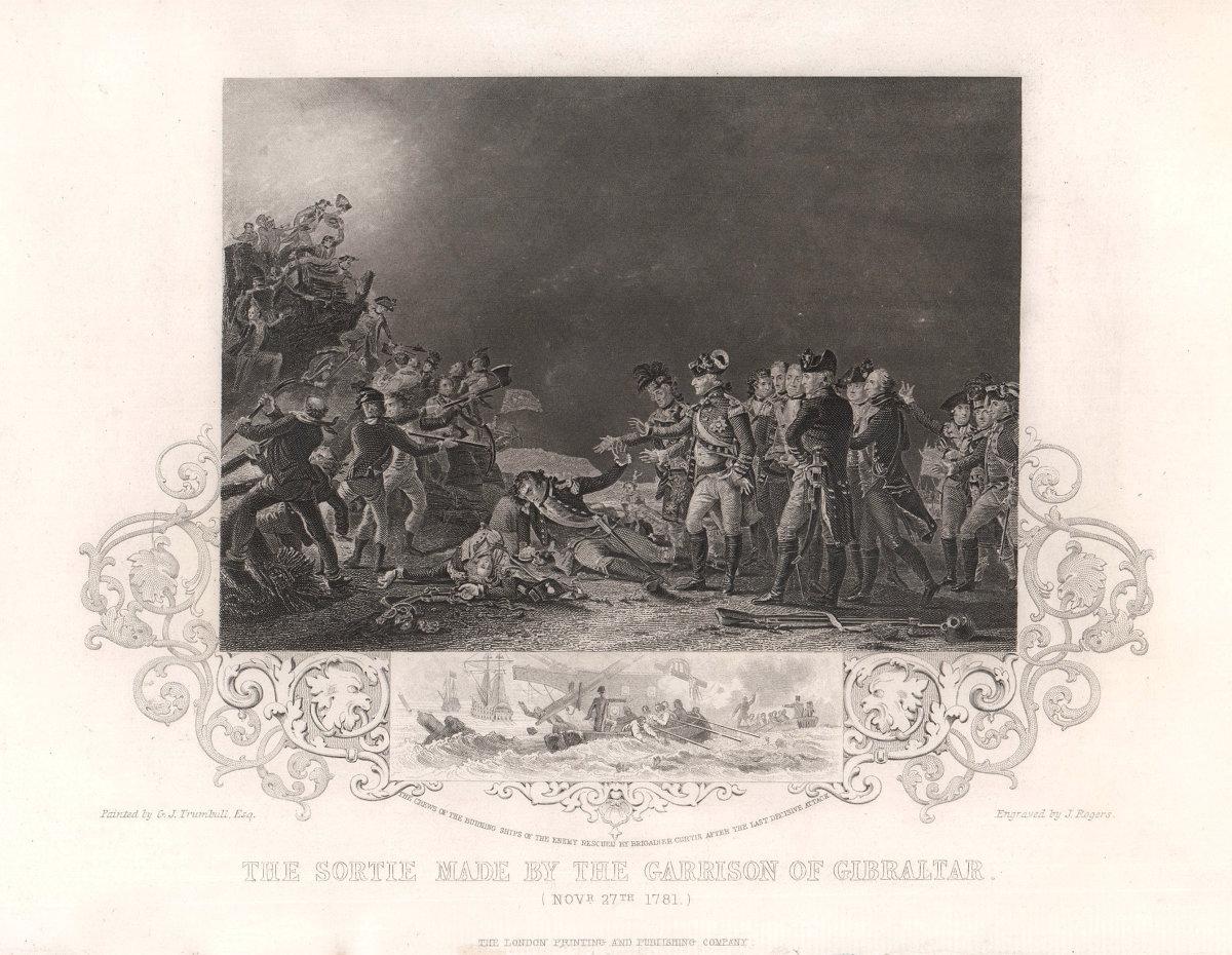 Gibraltar Garrison's sortie November 27th 1781. Great Siege. TALLIS c1855