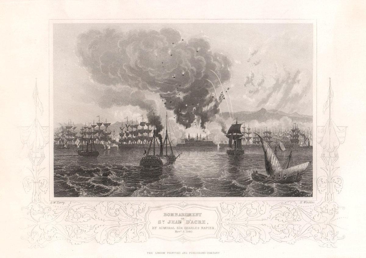 St. Jean d'Acre bombardment by Charles Napier 1840. Akko Palestine. TALLIS c1855