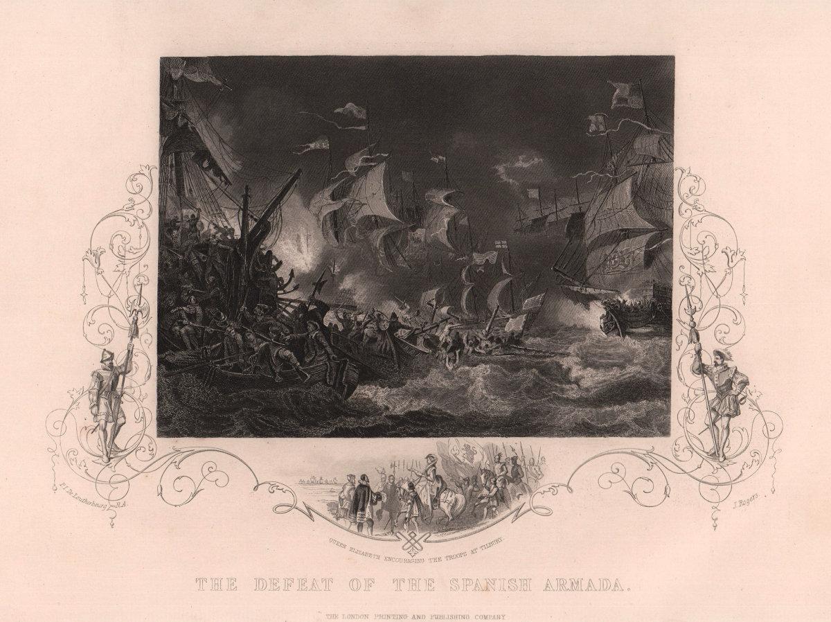 The defeat of the Spanish Armada 1588. Spain. TALLIS c1855 old antique print