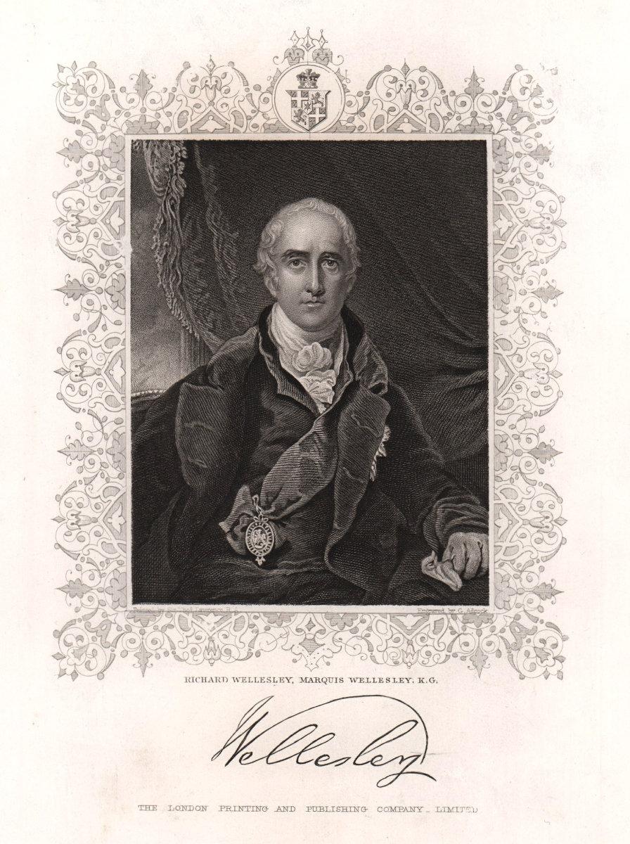 Richard Wellesley, Marquis Wellesley, K.G.. TALLIS c1855 old antique print