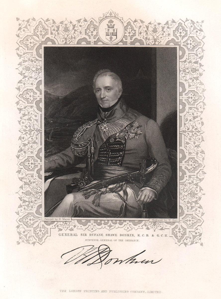 General Sir Rufane Shawe Donkin, K.C.B & G.C.H. TALLIS c1855 old antique print