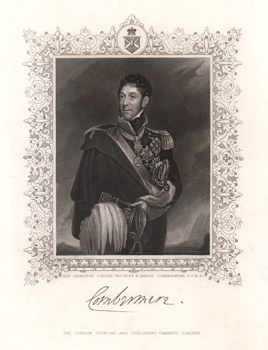 General Stapleton Cotton, Viscount & Baron Combermere. TALLIS c1855 old print