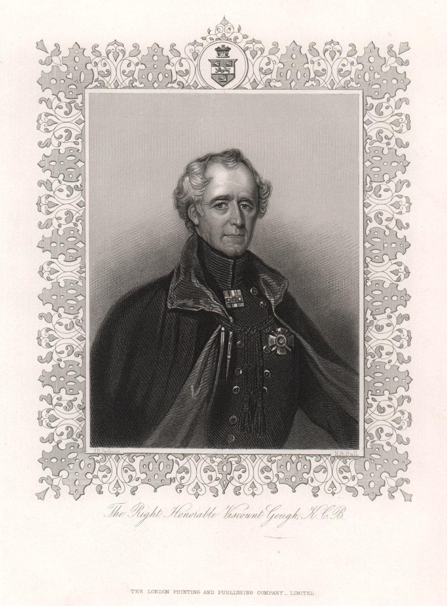 Hugh Gough, 1st Viscount Gough, K.C.B. TALLIS c1855 old antique print picture