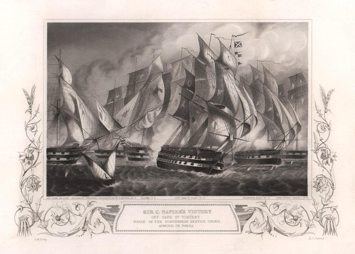 Battle of Cape St. Vincent 1833. Charles Napier. Ponza. Portugal. TALLIS c1855