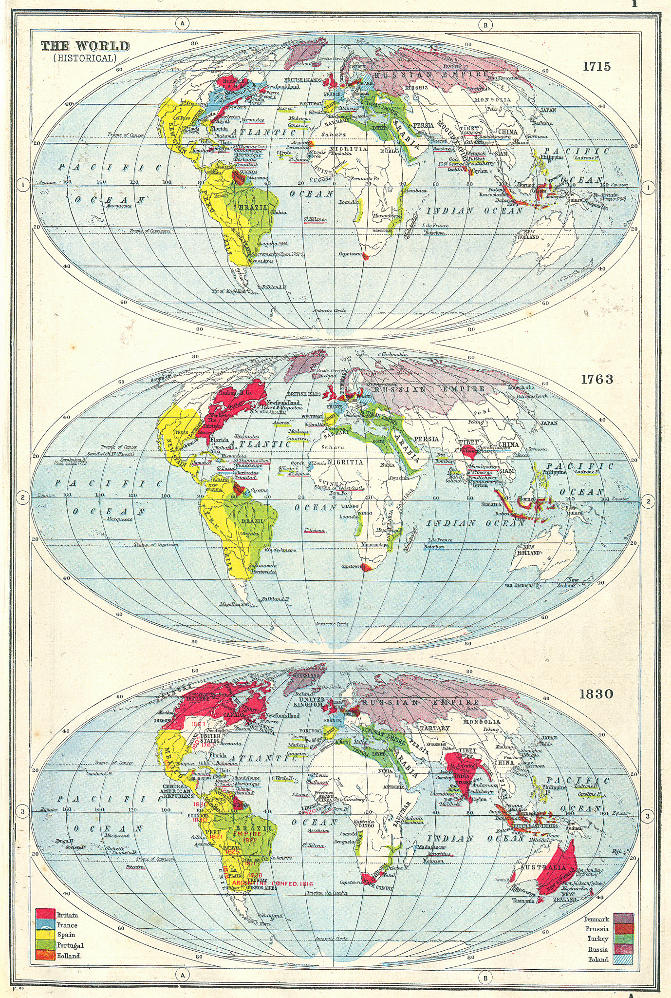 Associate Product WORLD. Historical - in 1715, 1763 & 1830. 18th & 19th centuries 1920 old map