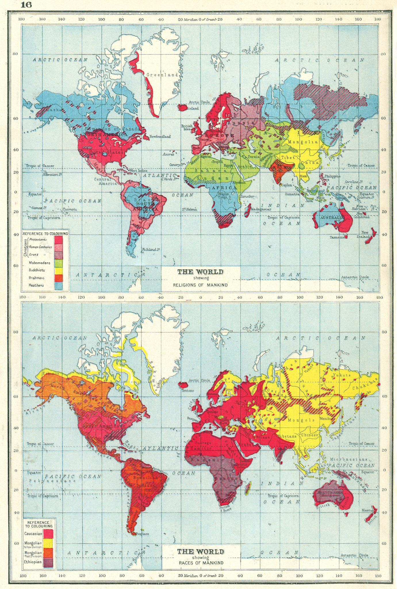 Associate Product WORLD. Showing Religions & Races of mankind. HARMSWORTH 1920 old antique map