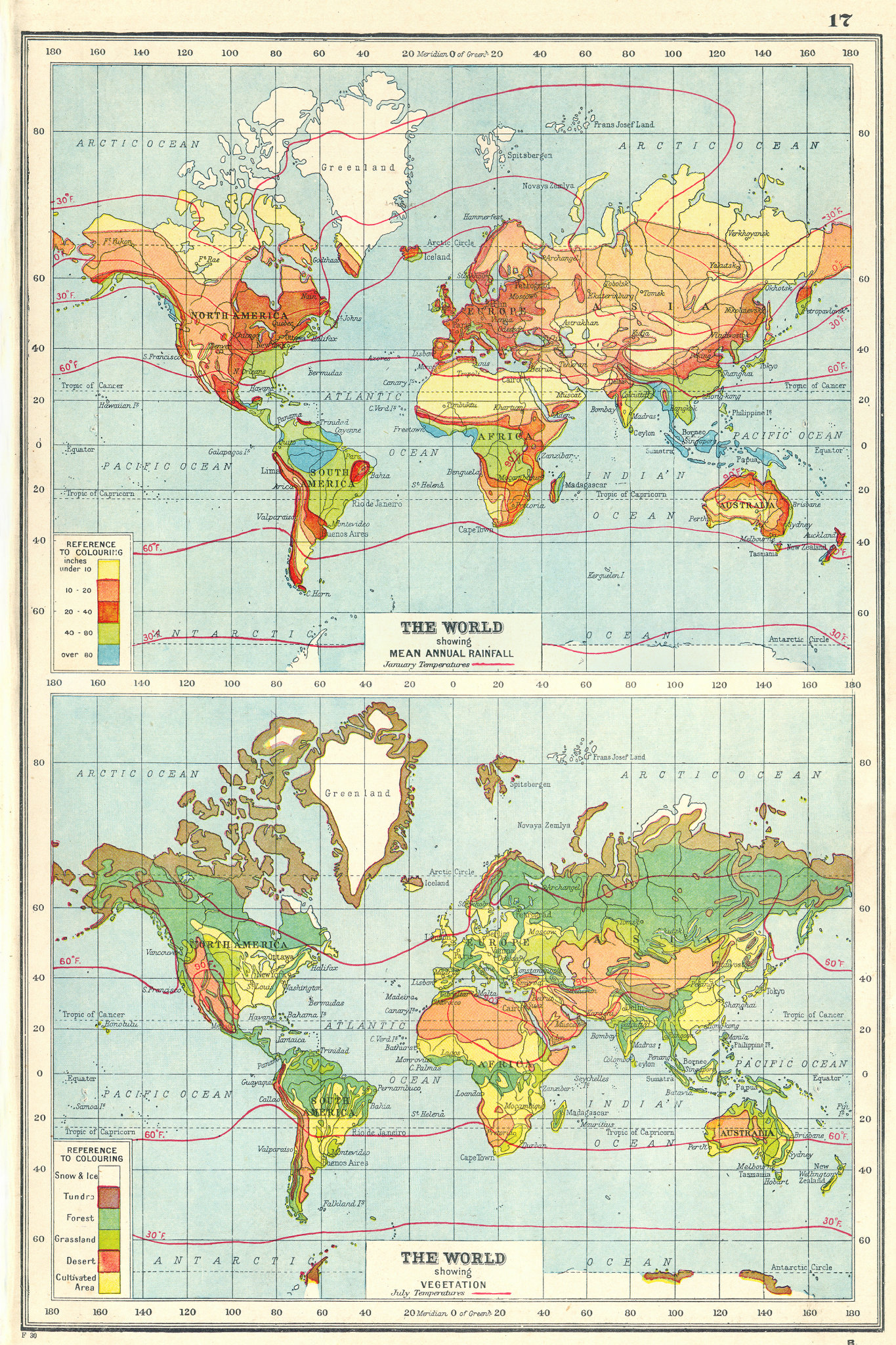 Associate Product WORLD. Showing Rainfall & Vegetation. Jan & July temperatures 1920 old map
