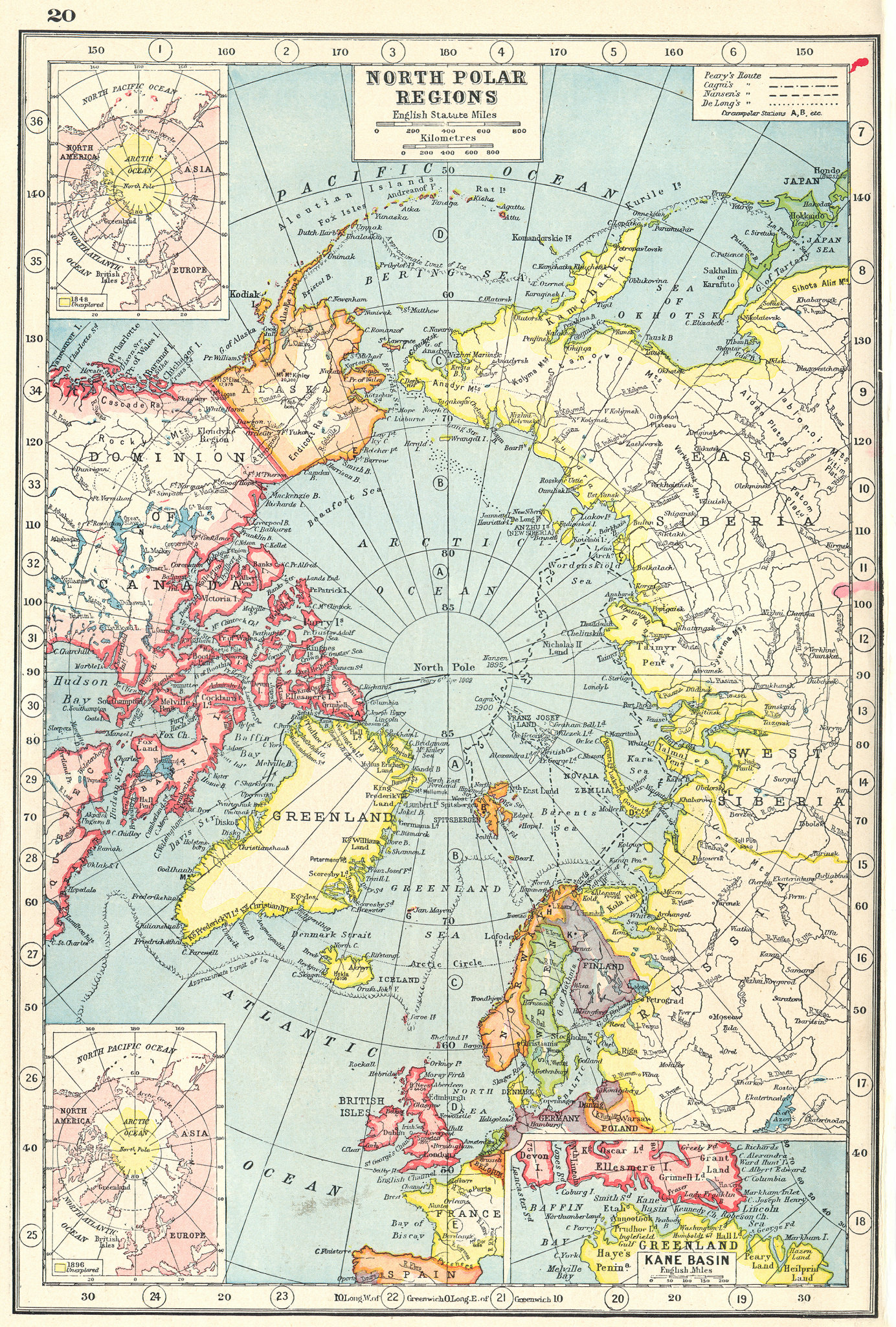 Associate Product ARCTIC. North Pole showing explorers' routes. Inset Kane Basin 1920 old map