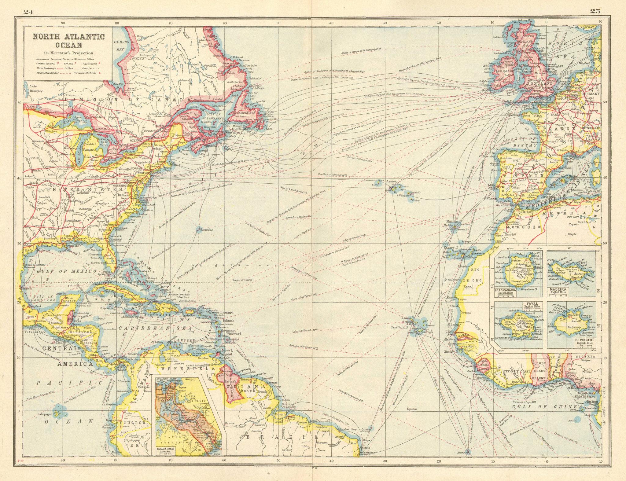 Associate Product NORTH ATLANTIC OCEAN. inset Panama Canal;Gran Canaria;Madeira. Cables 1920 map