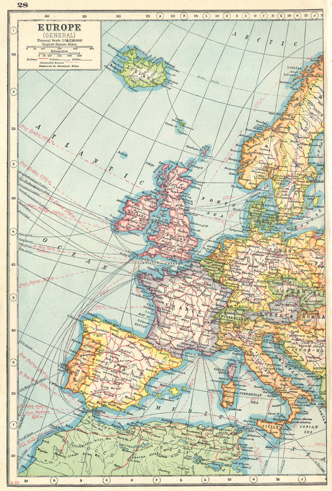 Associate Product WESTERN EUROPE. Showing railways cables steamship routes. HARMSWORTH 1920 map