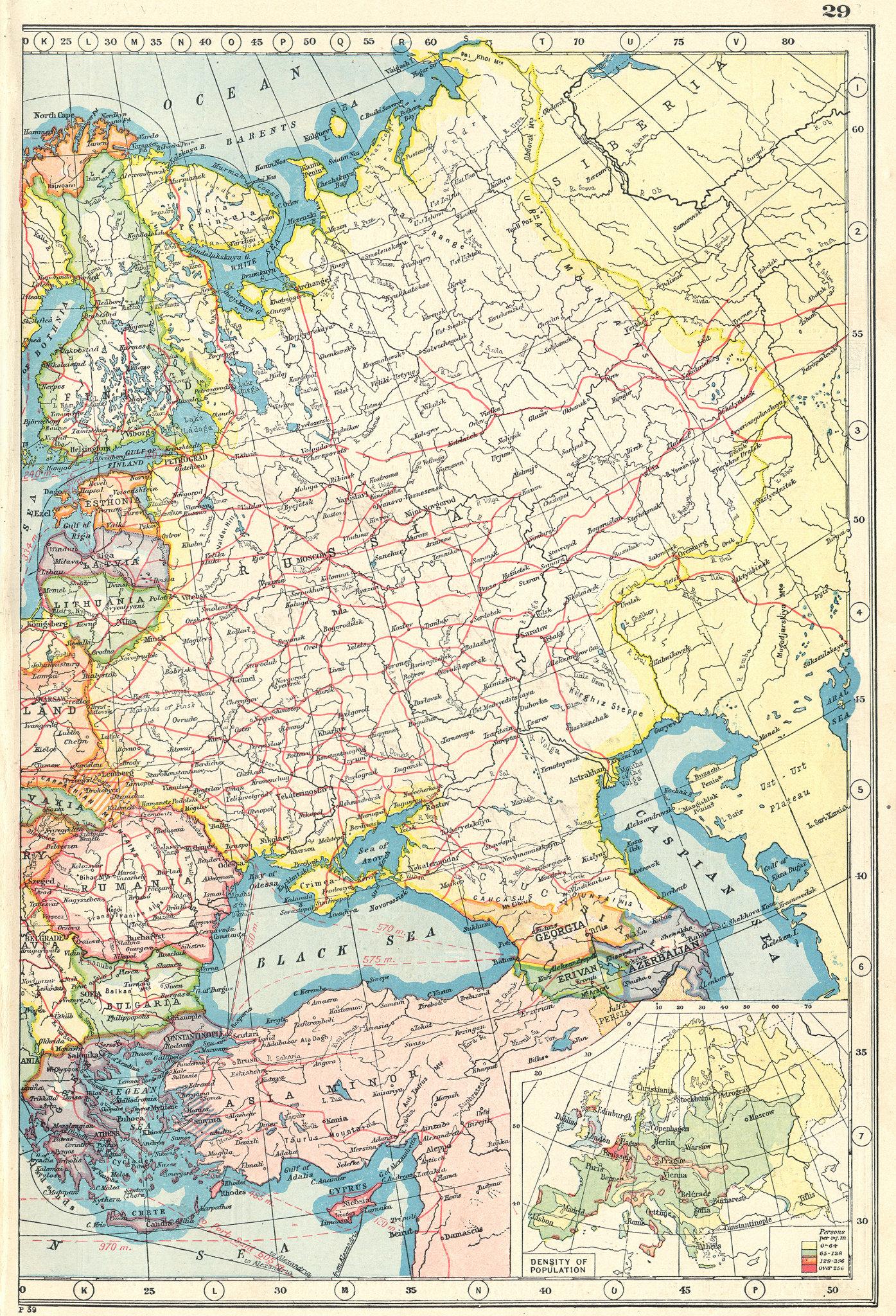 Associate Product eastern EUROPE. Railways telegraphs steamships. Population density 1920 map