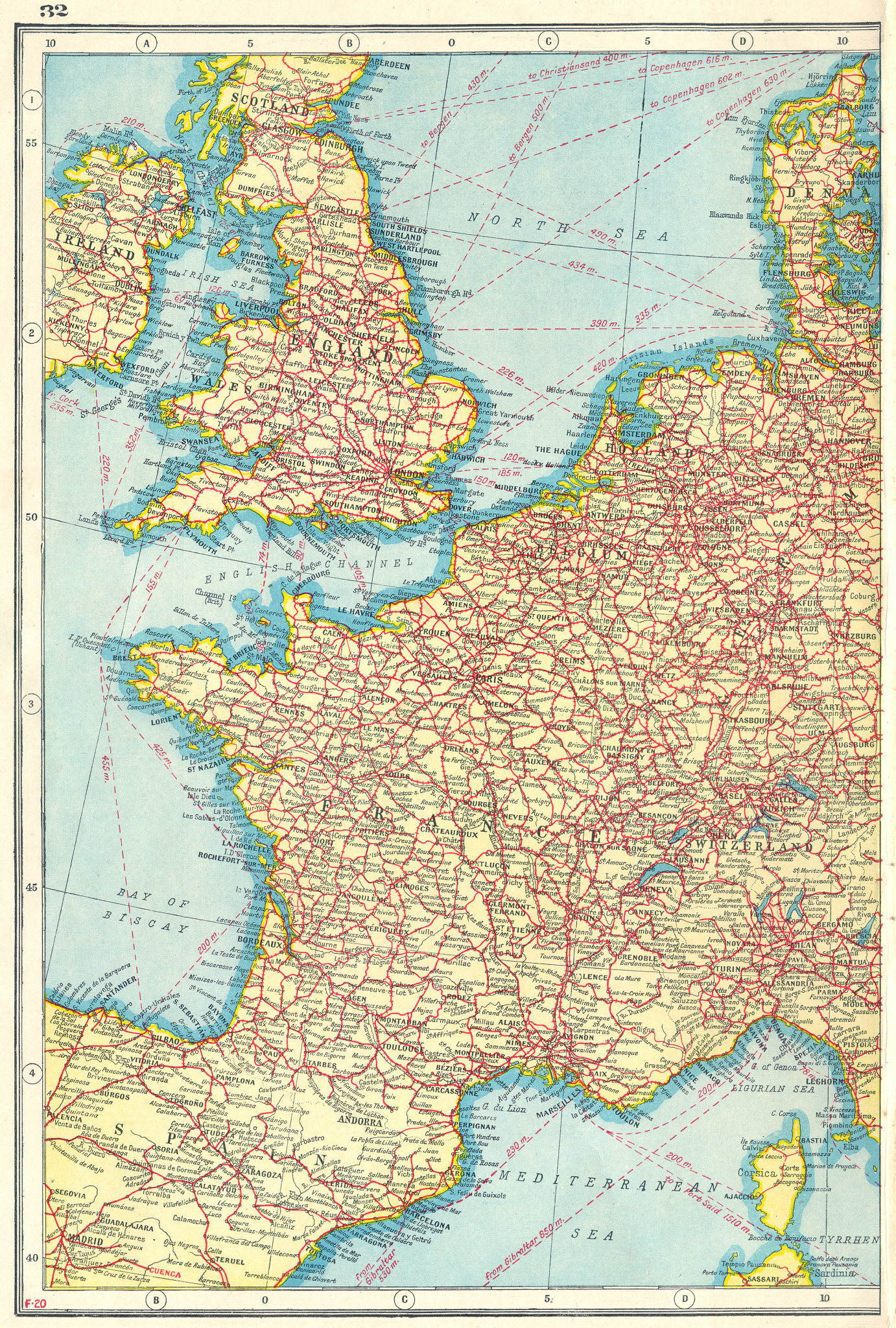 Associate Product WESTERN EUROPE. Showing Railways & steamship routes. West sheet 1920 old map