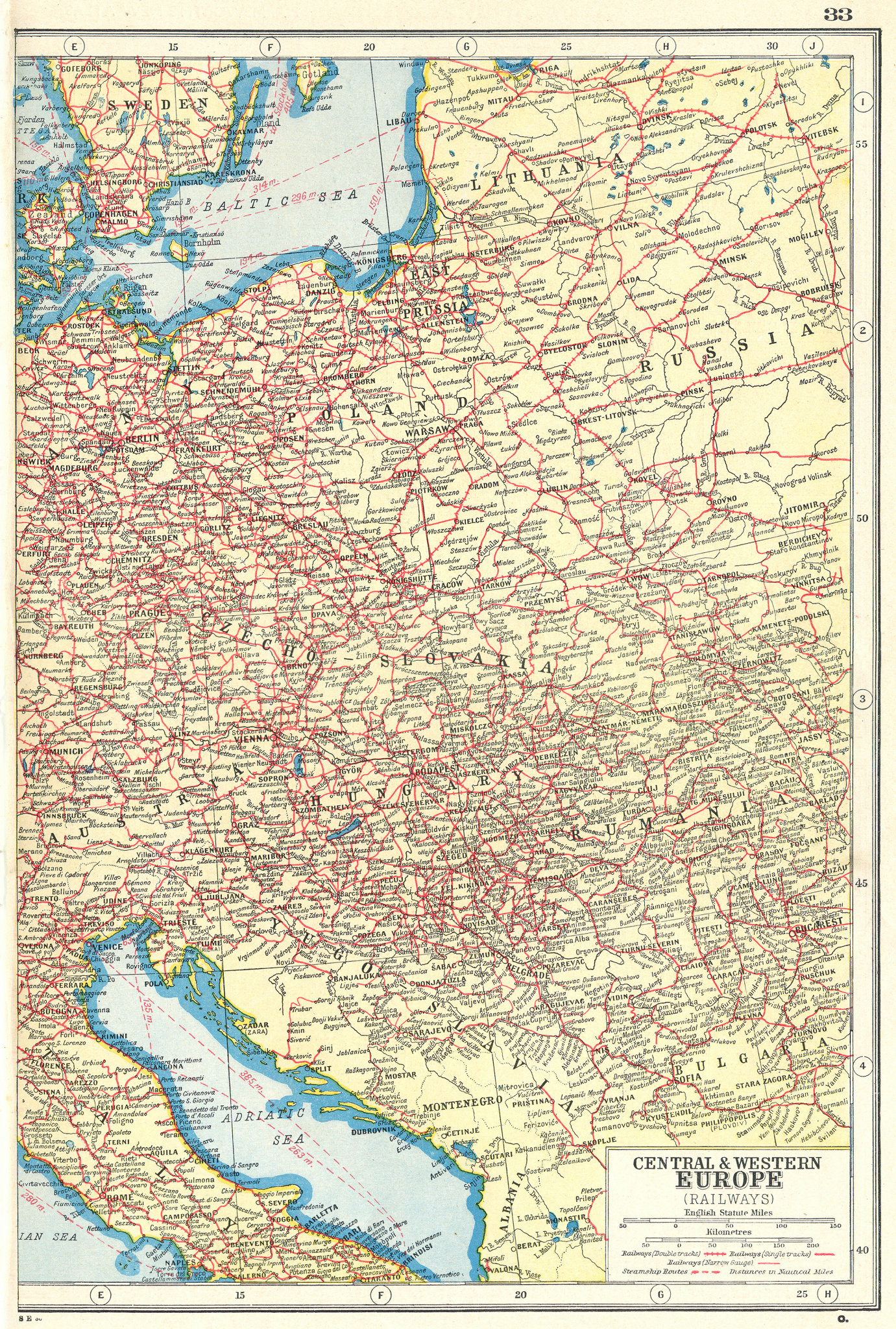 Associate Product EASTERN EUROPE. Showing Railways & steamship routes. East sheet 1920 old map