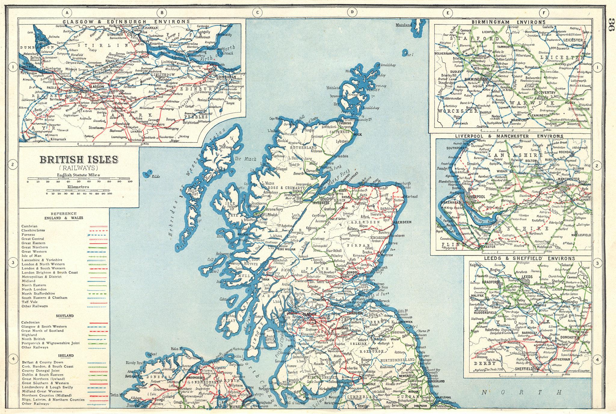 Associate Product BRITISH RAILWAYS. Rail companies. Scotland Birmingham NW England 1920 old map